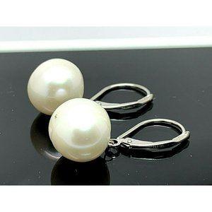 14k White Gold White Pearl Round Dangle Earrings